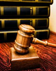 Law: Gavel, books, wood